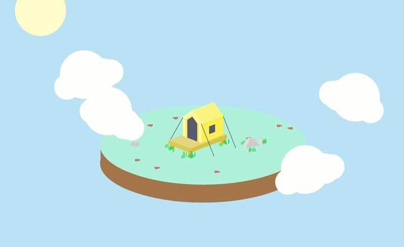 HTML5 canvas绘制空中花园场景特效