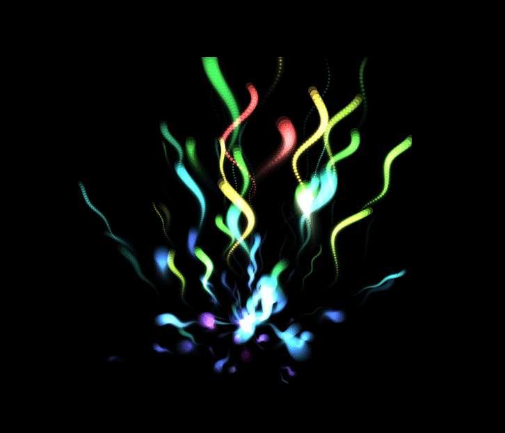 彩色光線跑出來canvas動畫