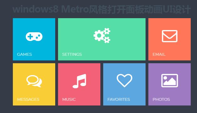 win8 Metro风格打开面板动画