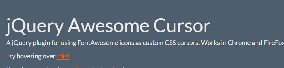 jQuery Awesome Curs修改光标图案插件