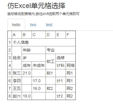 仿Excel單元格選擇