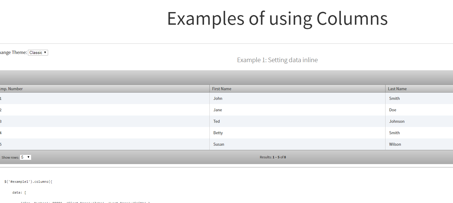 JSON數據轉換為html表插件Columns