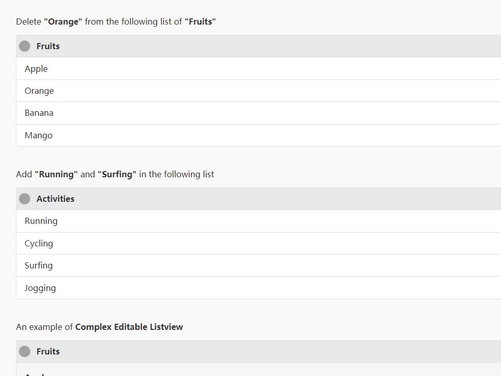 移動列表插件Editable Listview