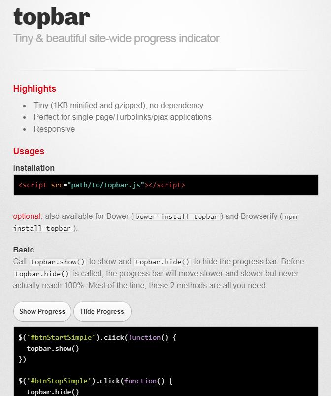 轻量极网站加载进度指示插件topbar.js