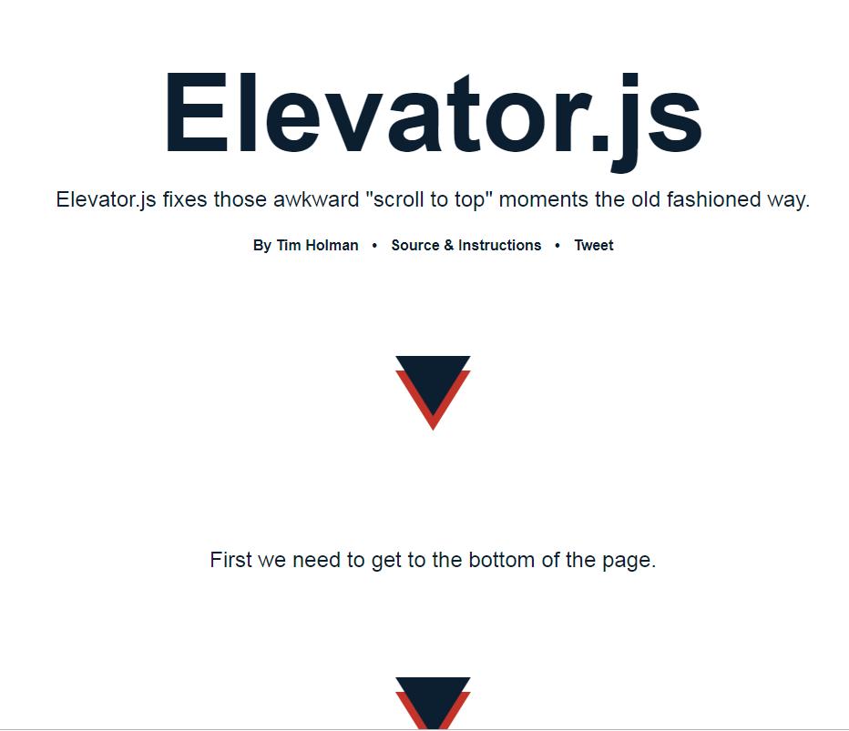 返回顶部插件Elevator.js