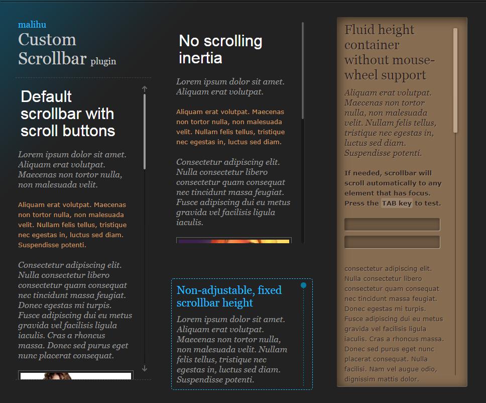 滚动条插件-jQuery custom content scroller