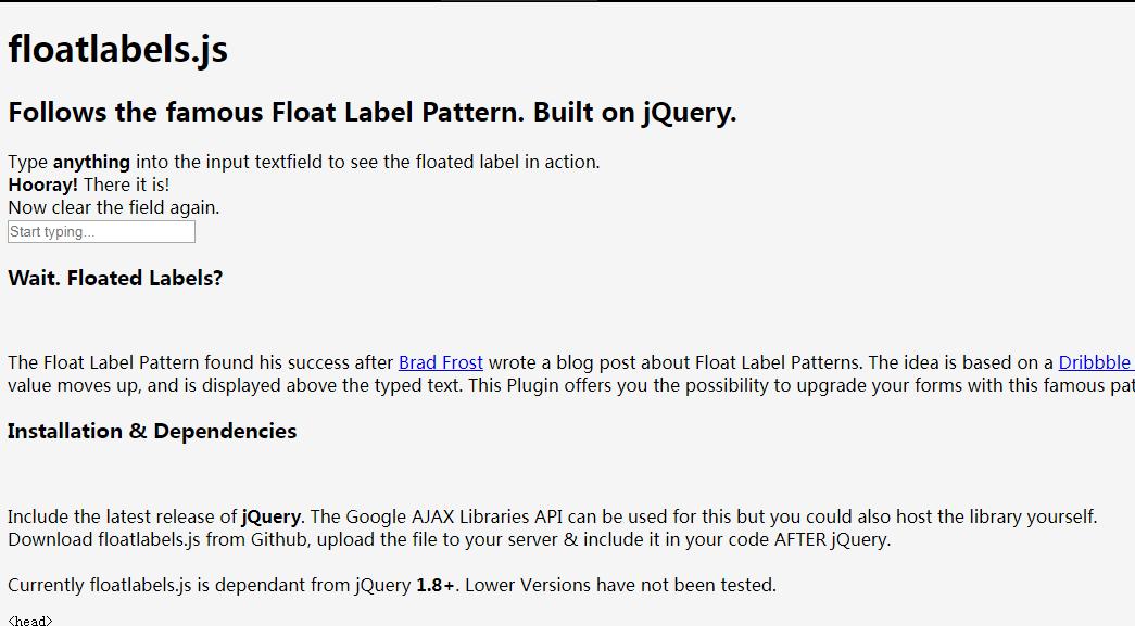 基于jQuery的跟随浮动标签