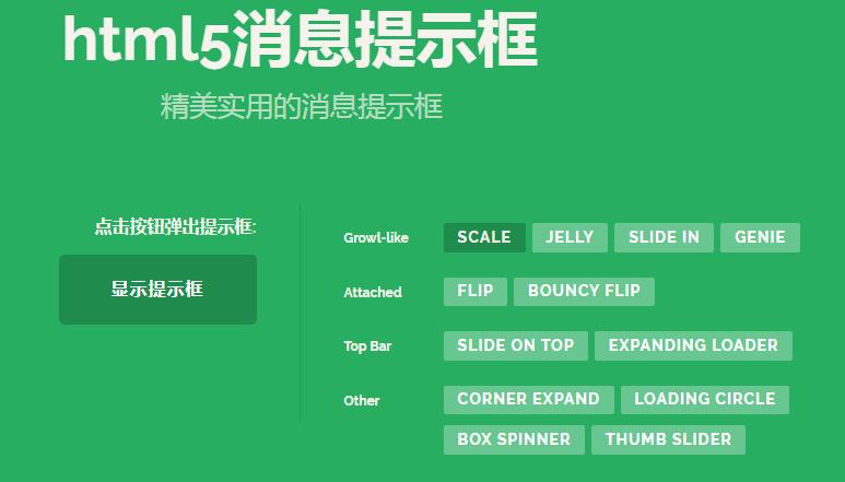 html5信息提示框效果