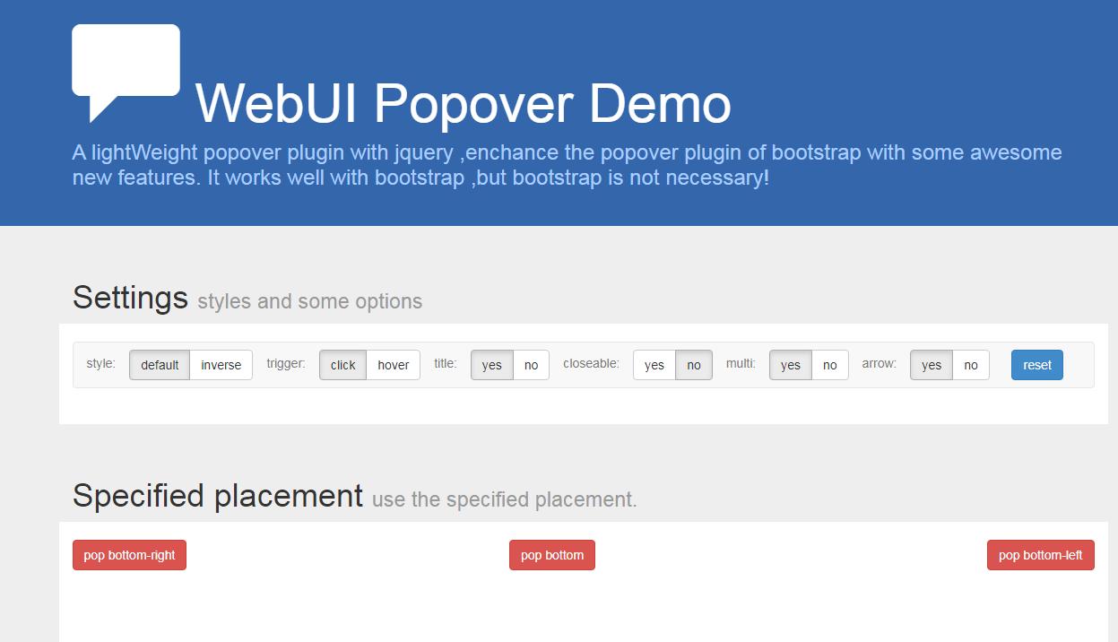 弹出插件WebUI Popover