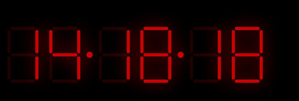 JS LED数字时钟效果