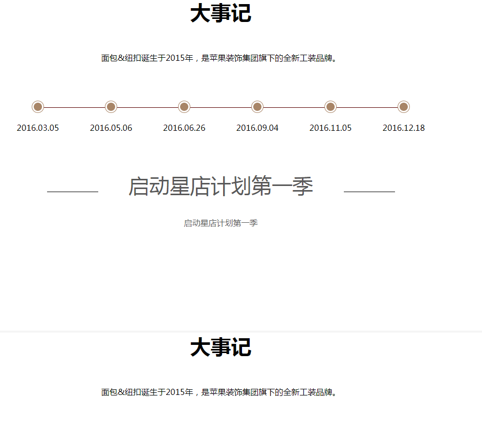 jQuery公司发展历程时间轴滚动