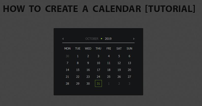 jQuery & CSS3 制作的日历