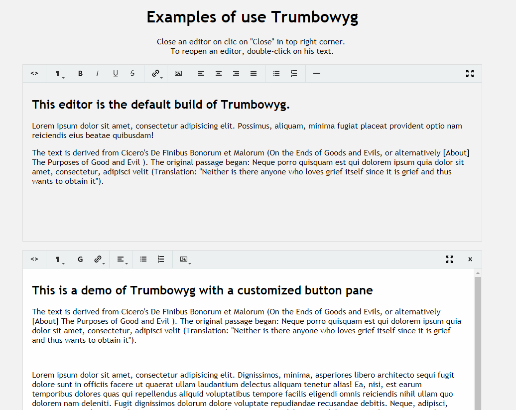 輕量級文本編輯器Trumbowyg