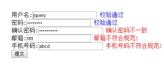 简单的jQuery表单验证插件
