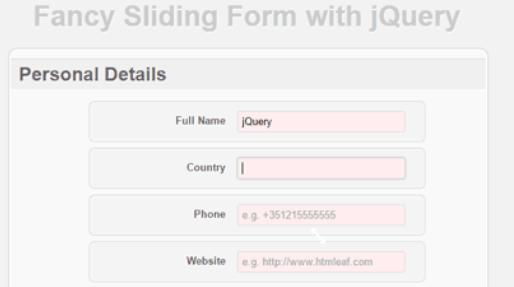 jQuery滑动式注册页面
