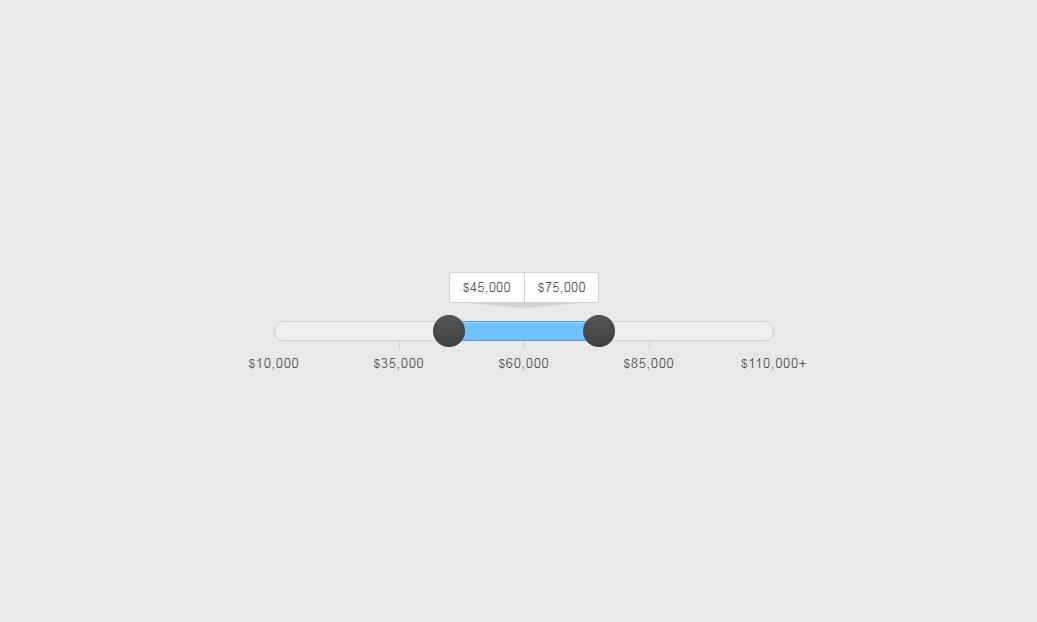 jQuery滑块拖拽范围选择实例