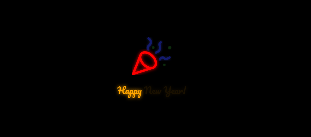 新年快乐喇叭闪烁动画特效