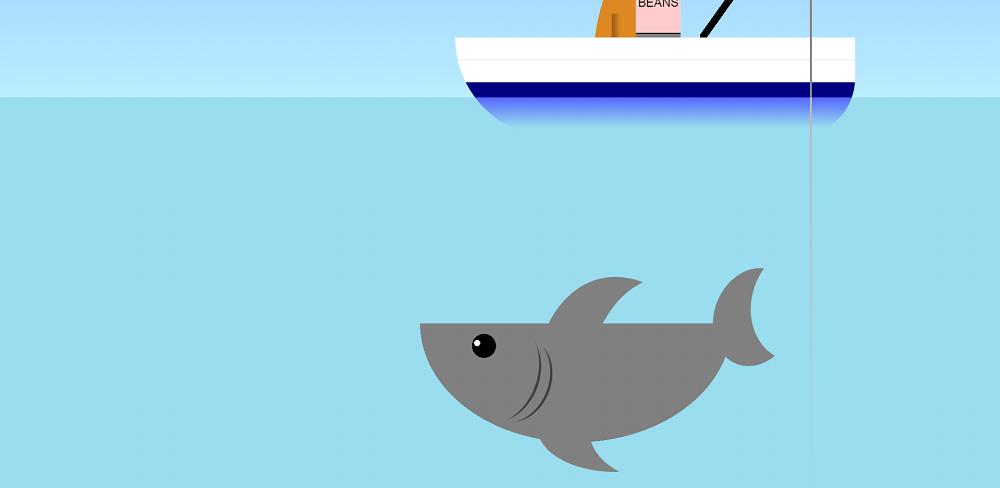 CSS3卡通鲨鱼船底游动特效