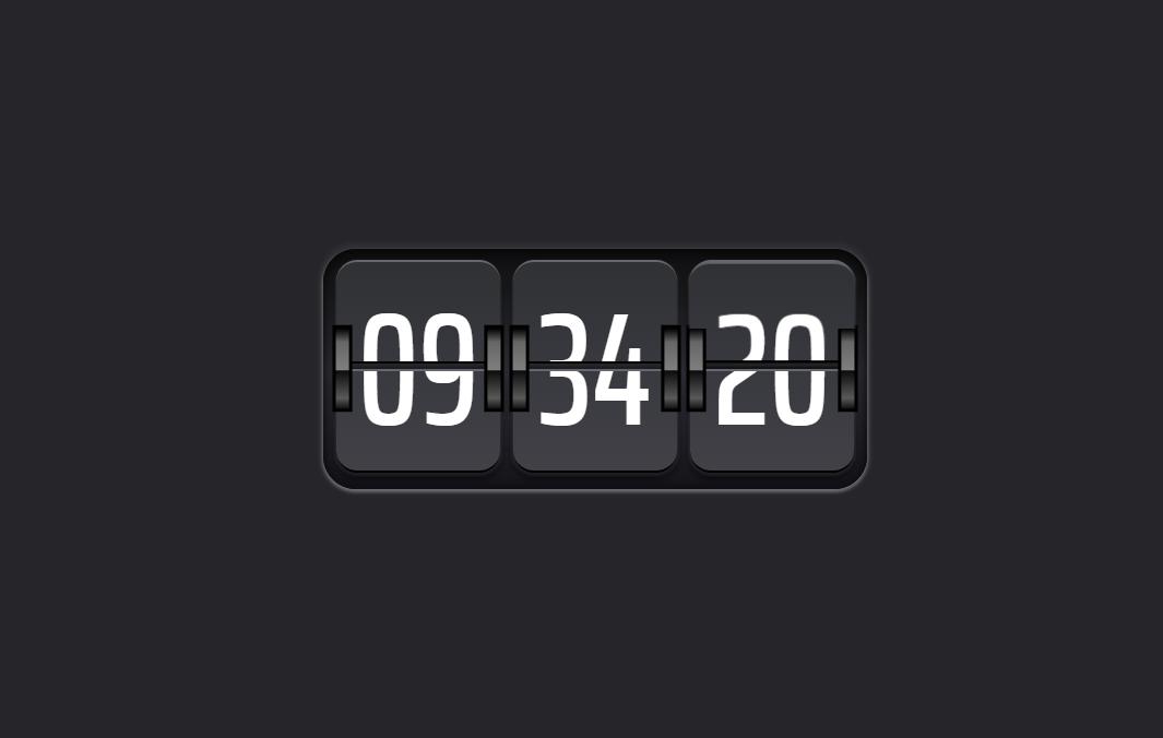 黑色卡片式翻转时钟ui特效