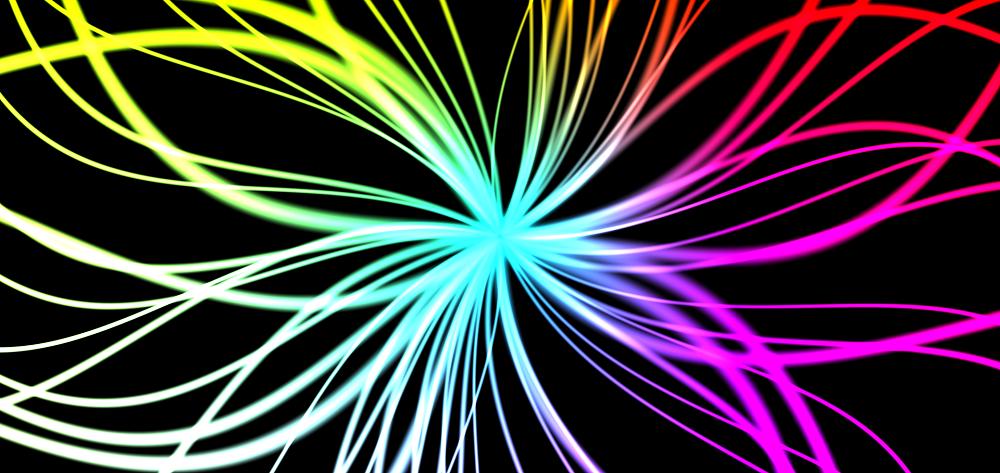 彩色发光的3D线条动画特效