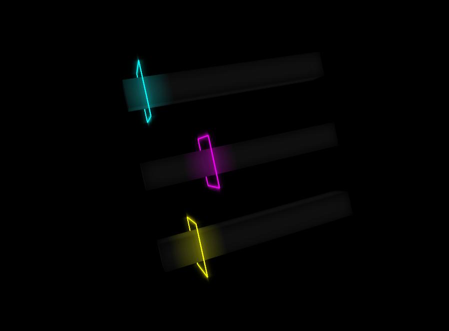 三个霓虹灯方块动画特效