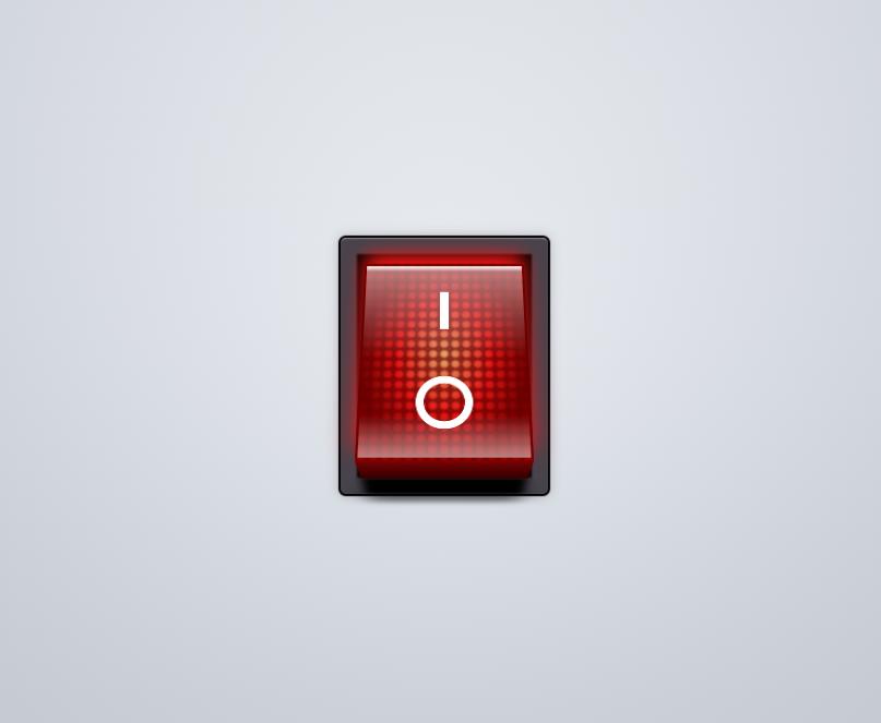 逼真的红色开关ui按钮特效