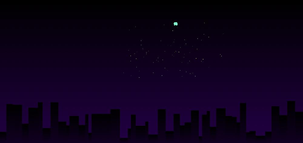 夜晚城市烟花动画场景特效