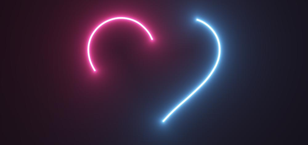 发光的线条爱心形状动画特效