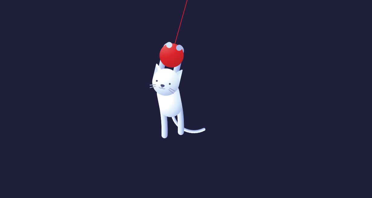 吊挂着的猫咪ui动画特效