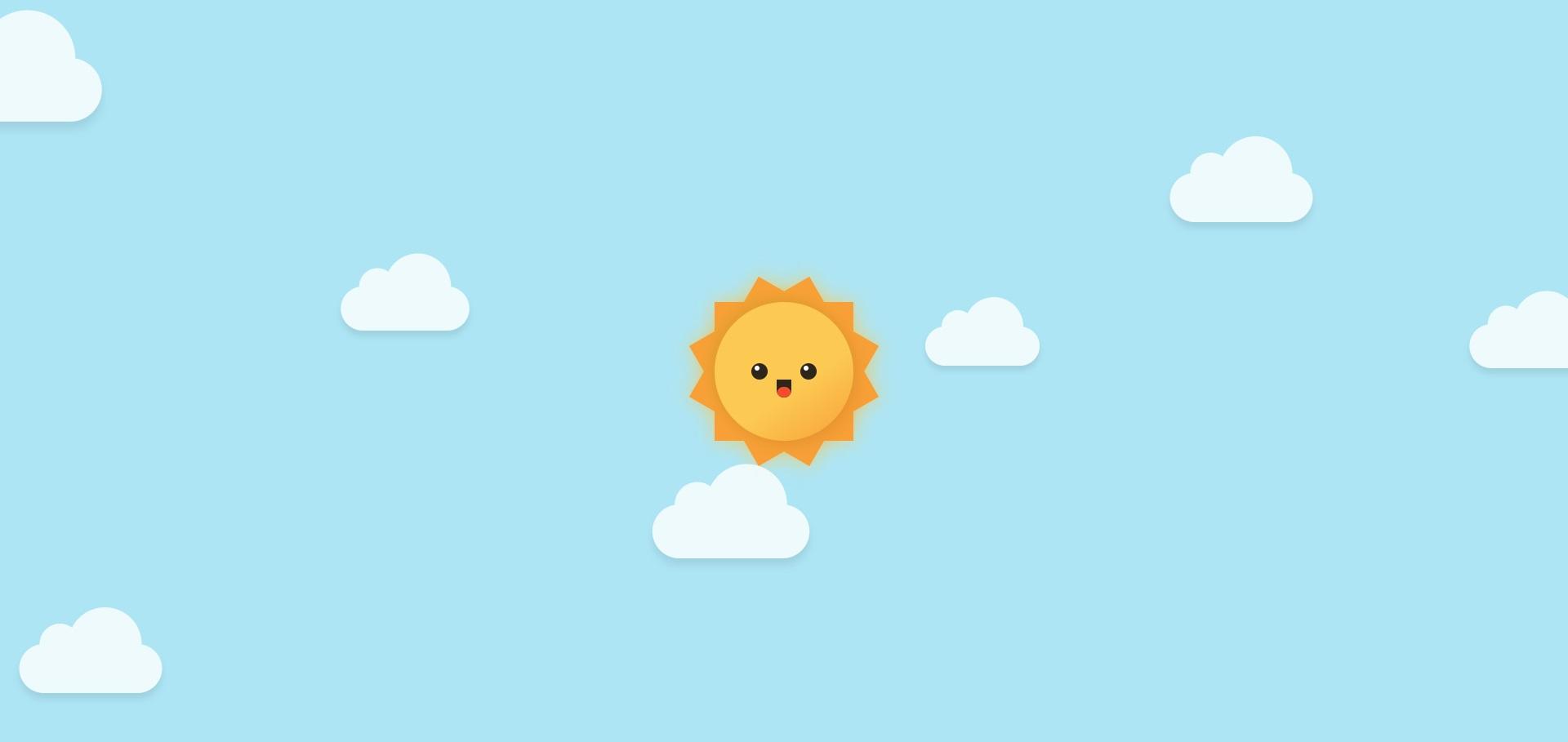 卡通的太阳和云朵动画特效