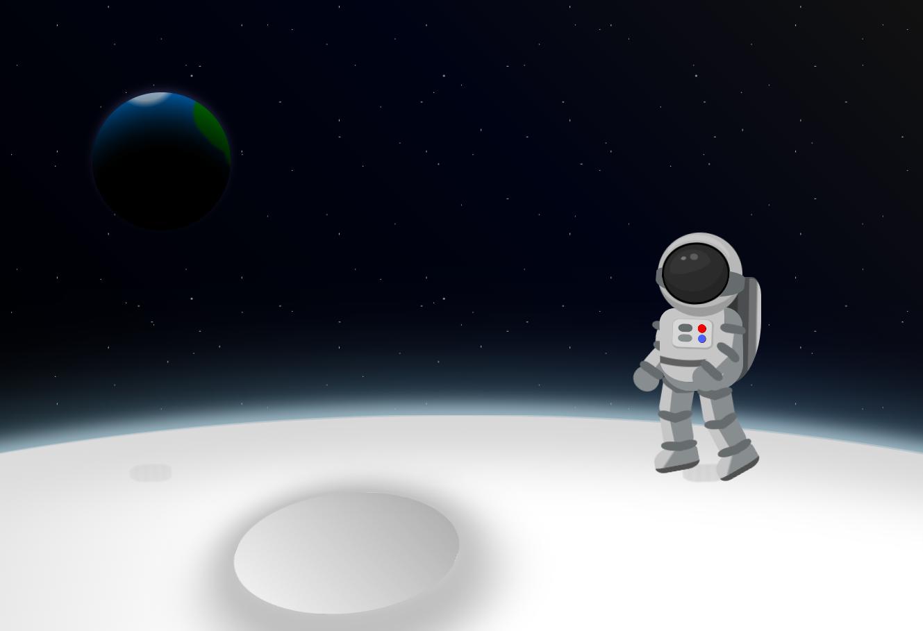 月球上行走的宇航员场景特效