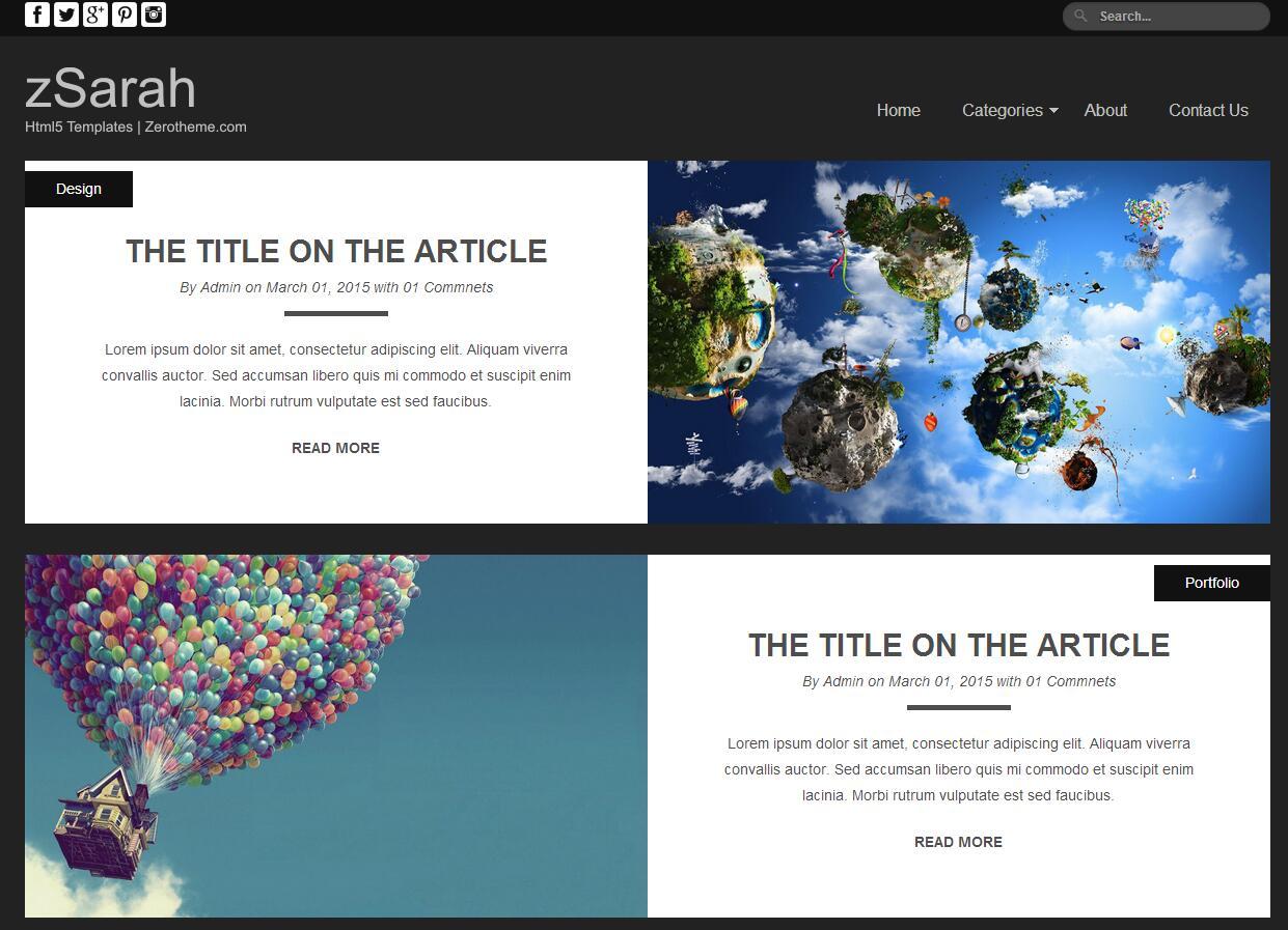 黑色简洁扁平化设计师博客主页模板
