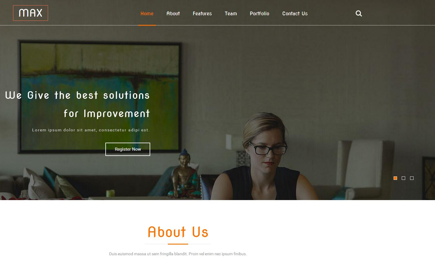 黑色宽屏的商务合作公司html5展示模板