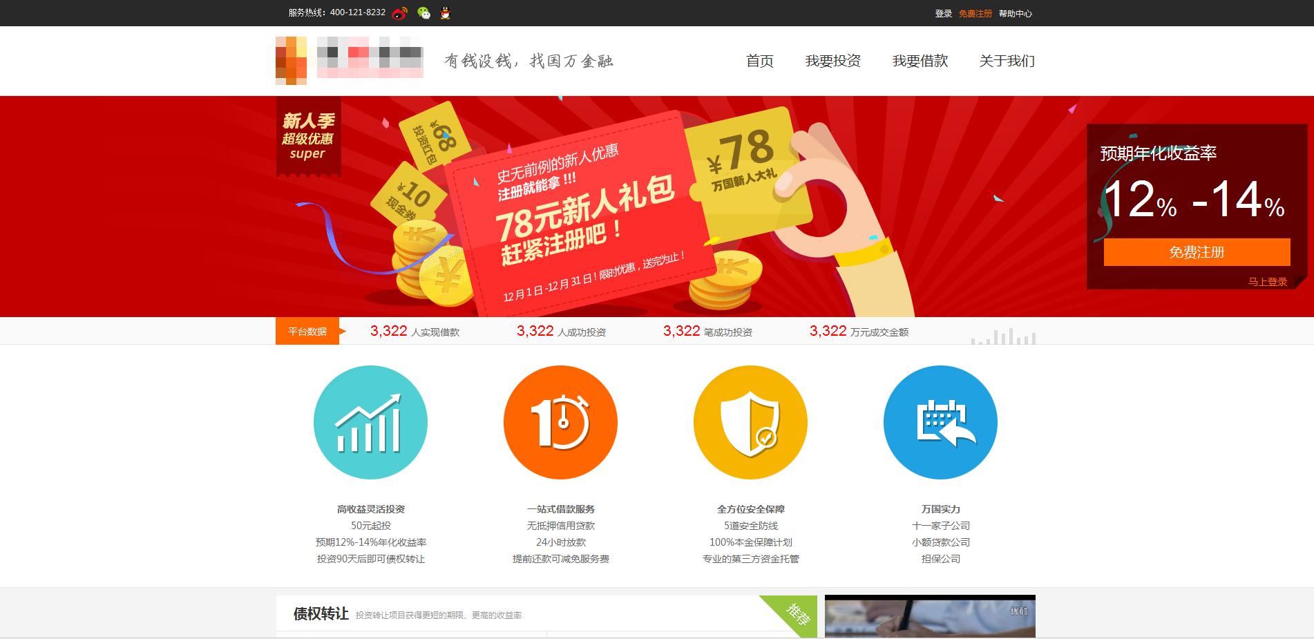 简洁的p2p金融投资平台网站全套模板下载