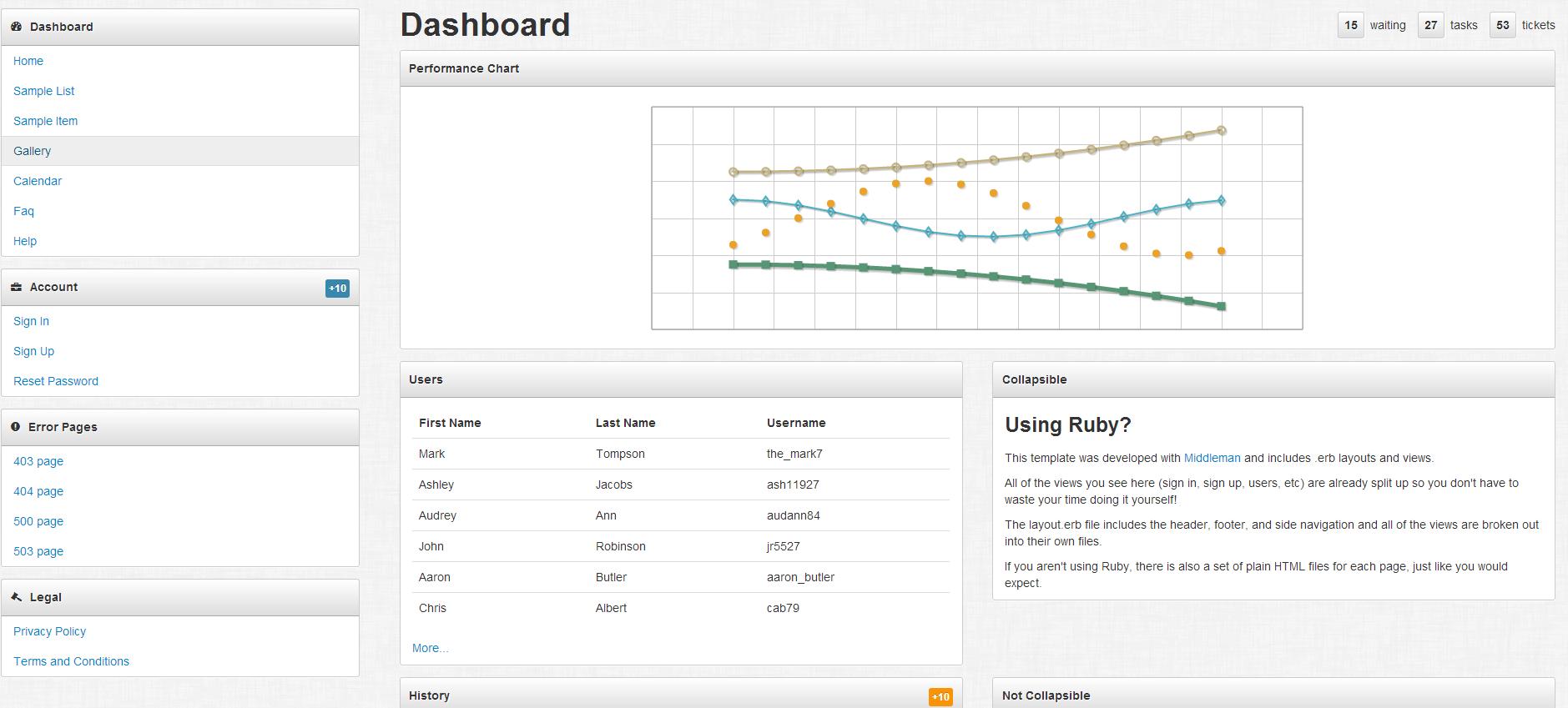 灰色风格响应式bootstrap后台管理模板