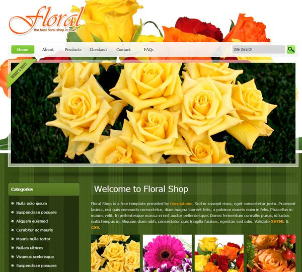 绿色的鲜花店商城网页HTML整站模板