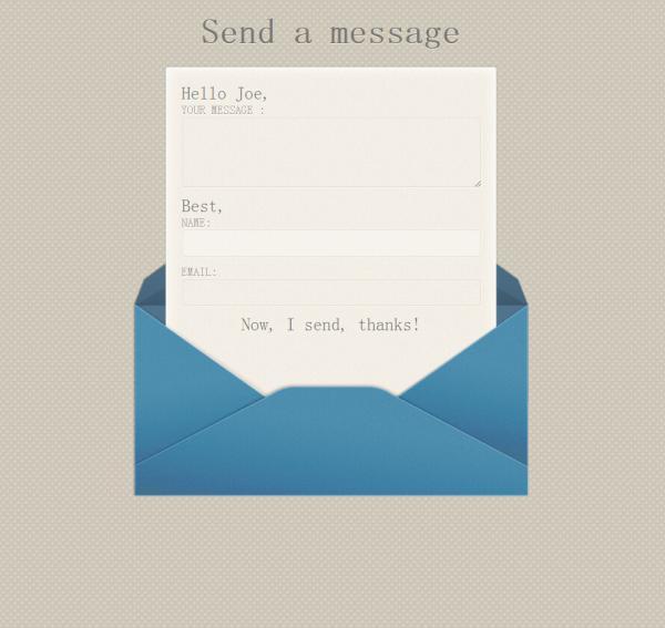 CSS3实现动态信封折叠留言样式
