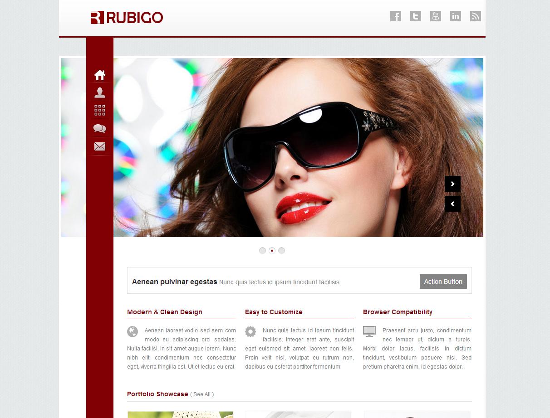 紅色扁平風格的響應式個人攝影相冊網站模板