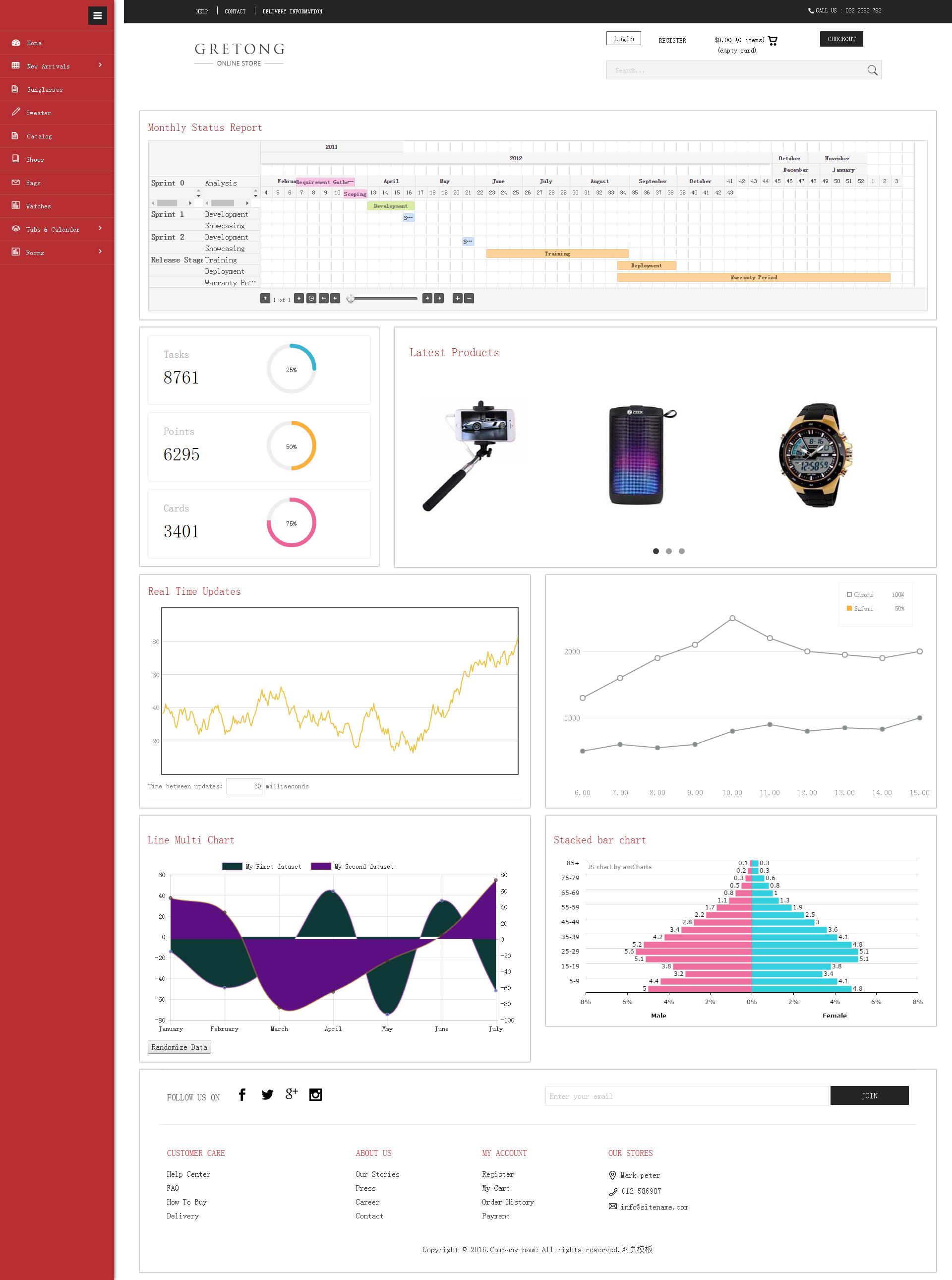 红色风格后台统计管理模板