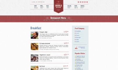 漂亮的西餐廳網站模板