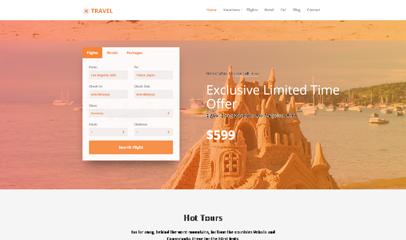 TRAVEL旅行社機票預訂響應式企業網站模板