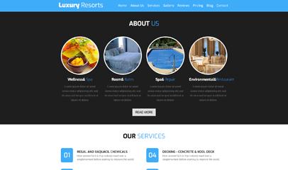 蓝色响应式度假村旅游单页推广模板