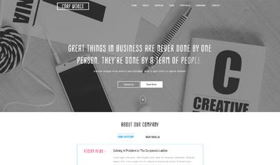 白色企業設計網站模板