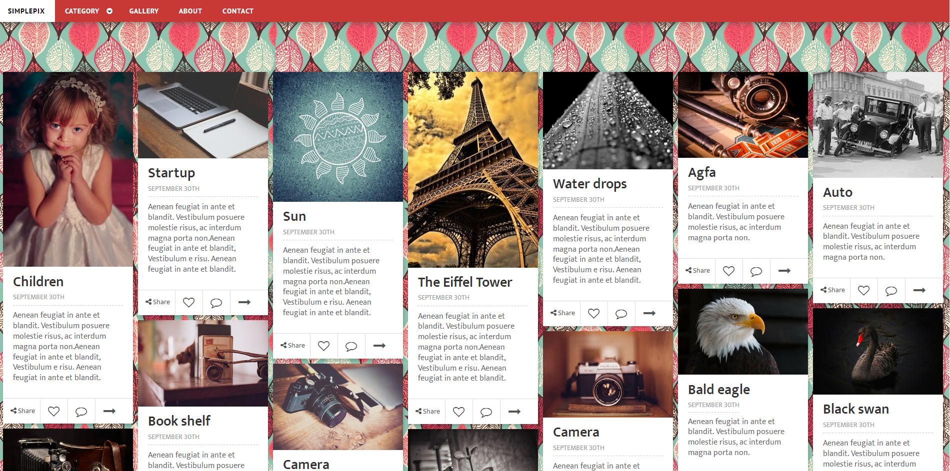 红色瀑布流布局图片分享html5模板