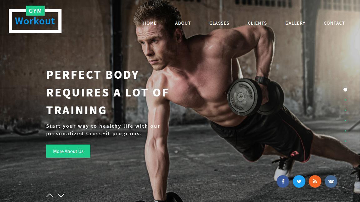 蓝绿色健身房健身运动网站模板