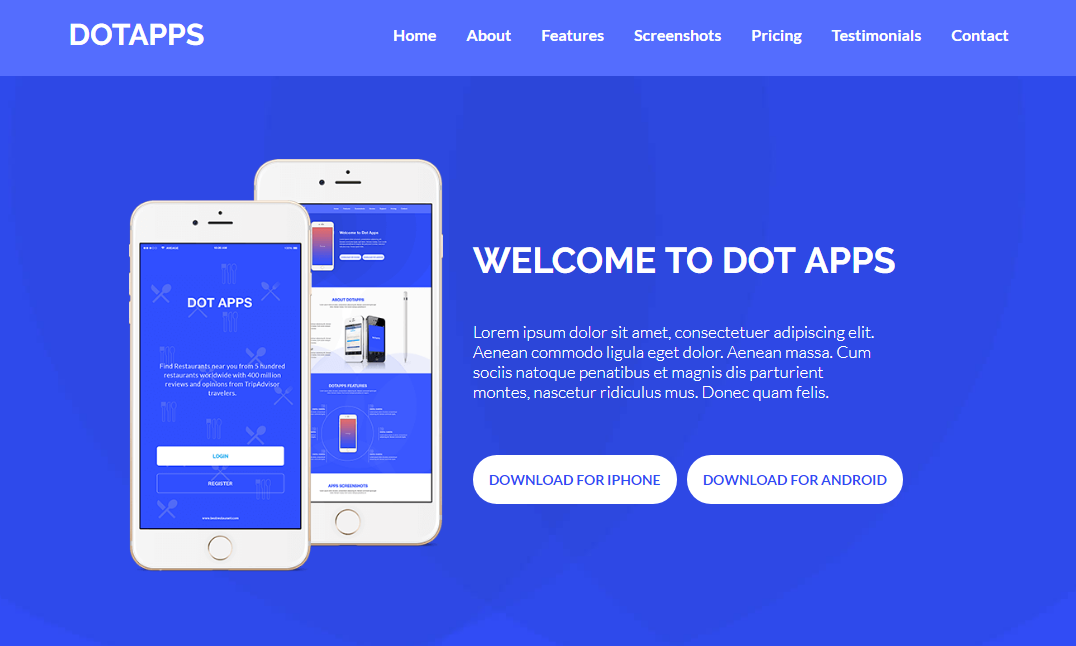 深藍色app宣傳介紹頁面模板