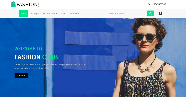 蓝色时尚购物电子商务整站模板
