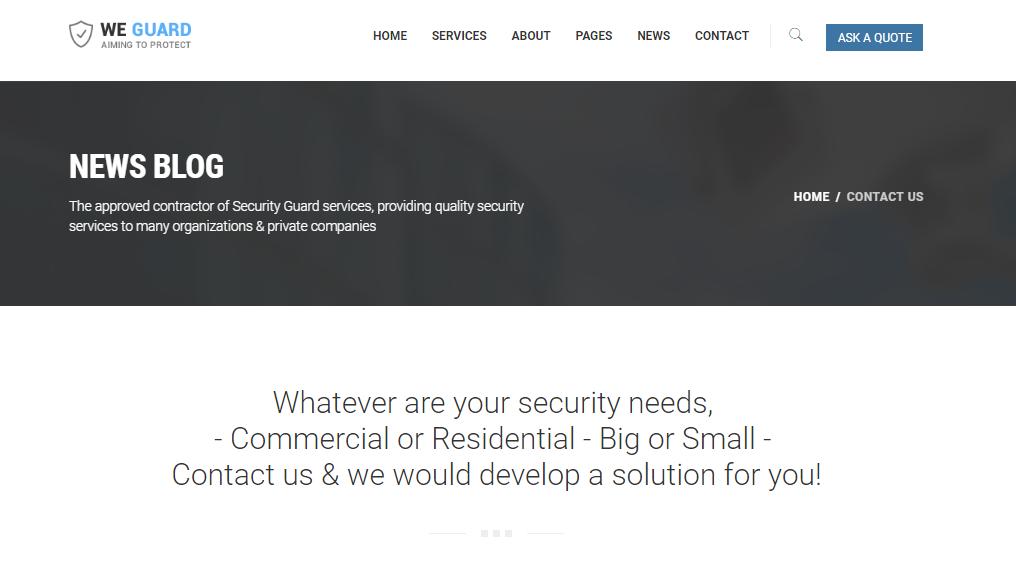 蓝色安全保护公司网站模板