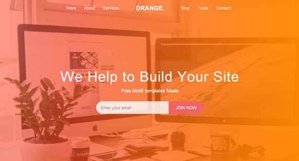 橘红色的设计公司网站模板
