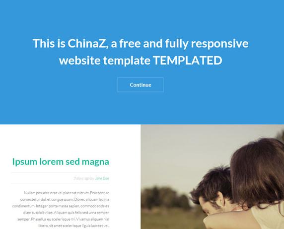 蓝白色响应式图文博客网站模板